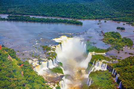 America: Devils Throat - largest waterfall  of the Iguazu River in South America. Picture taken from a helicopter