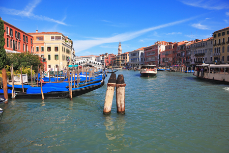 transported: The famous Grand Canal in Venice. Fine sunny day. Vaporetto is transported by thousands delighted tourists. The photo is made a lens the Fish eye Stock Photo