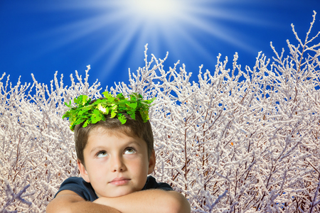 seven year old: Charming seven year old boy in carnival wreath of green leaves. Background of winter forest