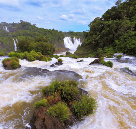 thundering: Waterfalls in Brazil. Fantastically spectacular boiling and thundering waterfalls of Iguazu. The picture was taken Fisheye lens