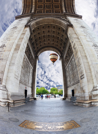 winning location: Effective and unexpected foreshortening Triumphal Arch in Paris. The photo is made the lens Fisheye Stock Photo