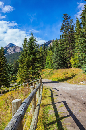 louise: Canada, Rocky Mountains, Banff National Park.  Low wooden fence on the shore of Lake Louise