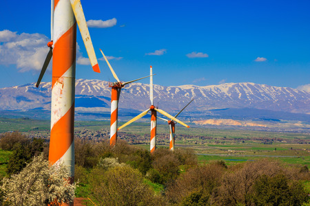 golan: The blossoming Golan heights in a sunny day. Some huge modern windmills. In the distance snow-covered Hermon is seen. Israel