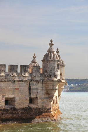 detai: Detail of decoration Tower of Belém in the water of the river Tagus. Portugal, Lisbon