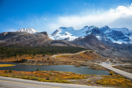 icefield: Beautiful nature of the Rocky Mountains of Canada. Icefields Parkway Road and giant glaciers in the mountains