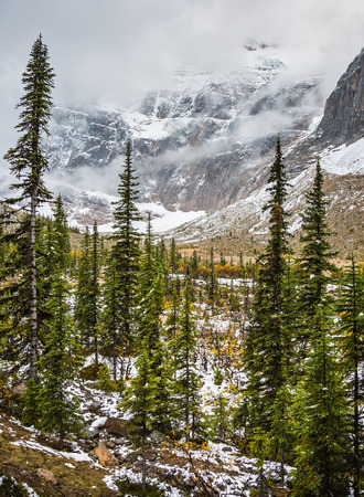 edith: Cold start of autumn in Jasper Park. Snow fell in September. Mount Edith Cavell and Angel Glacier