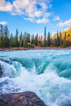 river stones: Powerful Athabasca Falls. Emerald water roars and foams on steep slope. Canada, Jasper National Park Stock Photo
