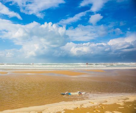rages: Mediterranean Sea rages. Huge sea beach in Tel Aviv in stormy January day