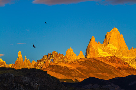 fitz roy: The stunning Patagonia. Fiery sunset illuminates the spectacular cliffs Fitz Roy