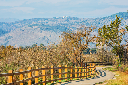 nature reserves of israel: Fenced path to walk in the park. Hula Nature Reserve, Israel Stock Photo