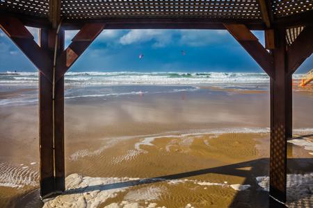 canopy: Beach canopy on a sea beach in Tel Aviv