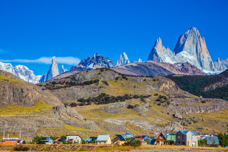 fitz roy: Incredible Patagonia. The town of El Chalten at the foot of fantastic rocks Fitz Roy