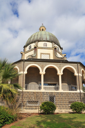 colonnade: Basilica and colonnade at Mount Beatitudes, Lake Tiberias, Israel