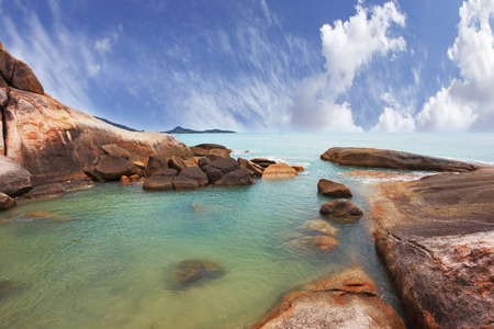warm water: Thailand, in April, a wonderful beach and spectacular cliffs. Similan Islands. Azure warm water and white sand Stock Photo