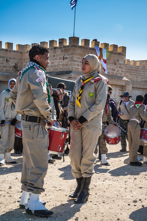 john the baptist: THE BORDER WITH JORDAN, ISRAEL - JANUARY 18, 2008: Happening at the walls of the monastery of St. John  Baptist. The Day of the Christian feast of the  Epiphany Editorial