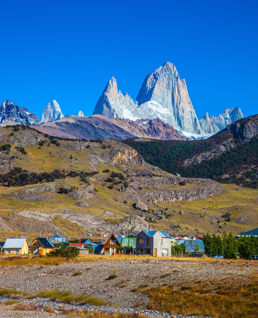 chalten: The town of El Chalten at the foot of fantastic rocks Fitz Roy. Incredible Patagonia