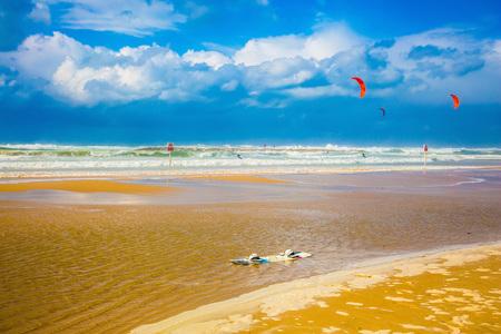rages: Storm on the Mediterranean Sea. Huge sea beach in Tel Aviv in January. Mediterranean rages Stock Photo