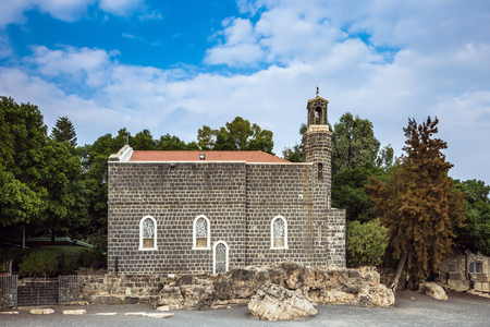 primacy: Sea of Galilee in Israel. The Holy Church of the Primacy - Tabgha on the Sea Gennesaret. Jesus then fed with bread and fish hungry people Stock Photo