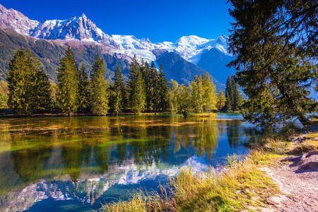 The snow-covered Alps and evergreen fir-trees reflected in lake. Early fall in Chamonix, Haute-Savoie Reklamní fotografie