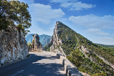 terrain: The picturesque and dangerous hairpin bend on a mountain road. The largest alpine canyon Verdon, Provence, France