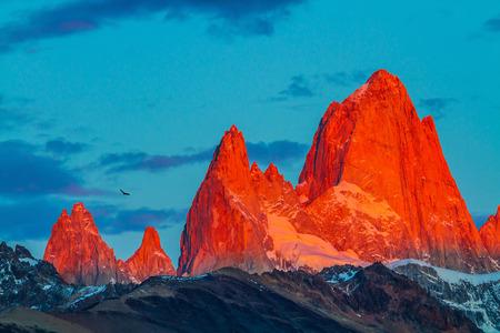 fitz: Sharp tops fantastically cliffs Fitz Roy illuminates the crimson sunset. Patagonia in February