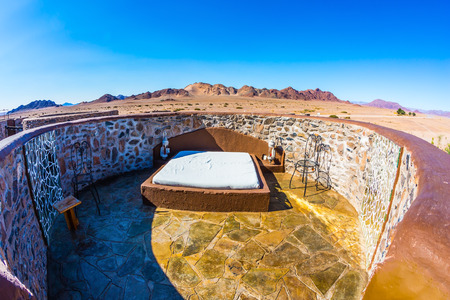 in the open air: Interior room on the roof - in open air. Hotel fantastic design around the Namib-Naukluft National Park