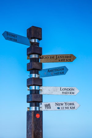 cape of good hope: Cape of Good Hope, South Africa. Pillar with pointers of distances to different cities of the Earth