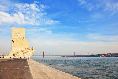 capital gains: Tagus River Embankment - an obelisk in memory of sea gains of Portugal. Lisbon, capital of Portugal