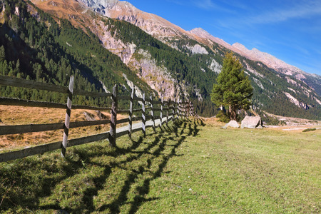 national forests: Alpine Valley in Austria. Headwaters National Park Krimml waterfalls.  Scenic farm fields blocked bythe wooden fence. Steep mountain slopes overgrown with coniferous forests Stock Photo