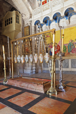 Stone of Unction - the oldest Christian shrine. Church of the Holy Sepulchre Redakční
