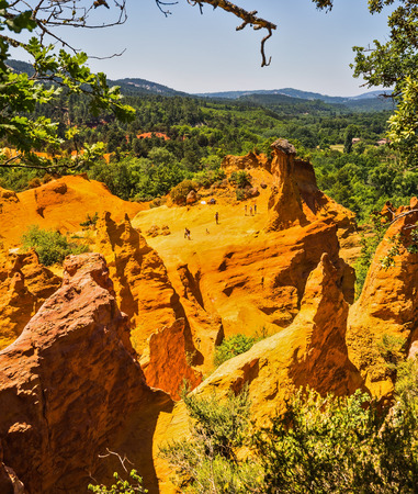 roussillon: The South of France, Languedoc - Roussillon. The reserve of extraction of natural dye - ochre Stock Photo