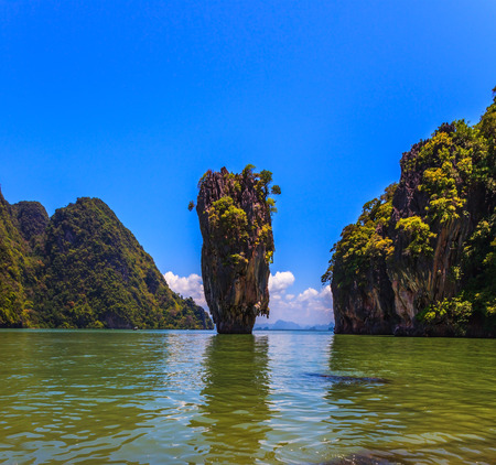 james bond's island: Freakish islands in the Andaman Sea. James Bonds island in the form of a vase. Fine rest in Thailand Stock Photo