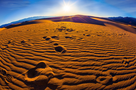 Magnificent sandy waves on dunes. Early morning in Death Valley, California Stock Photo