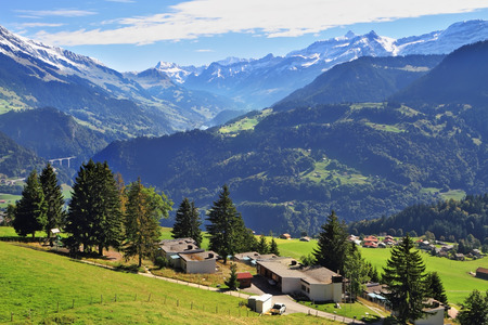 chalets: Picturesque gentle alpine meadows and rural houses chalets with red roofs. Gorgeous weather in the resort town of Leysin in the Swiss Alps