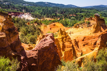 roussillon: Reserve - quarry for ocher mining. Orange and red picturesque hills. Languedoc - Roussillon, Provence, France