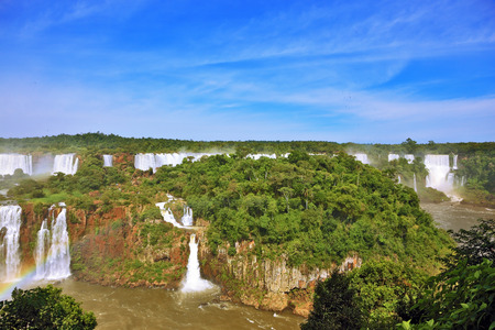 thundering: Waterfalls in Brazil. Fantastically spectacular boiling and thundering waterfalls of Iguazu