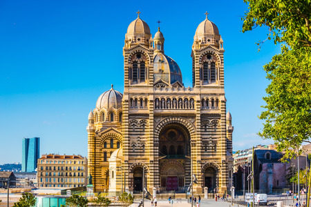 MARSEILLE, FRANCE - MAY 22, 2015:  Beautiful spring day. The magnificent facade of the Cathedral of Saint Mary Major in Marseille Editorial
