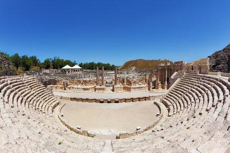 roman amphitheater: The stone seat in the Roman amphitheater at Beit Shean, Israel