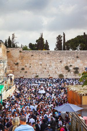sukkoth festival: Autumn holiday of Sukkot in Jerusalem. The Western Wall of the Temple. At Temple Square was a huge crowd of Jews