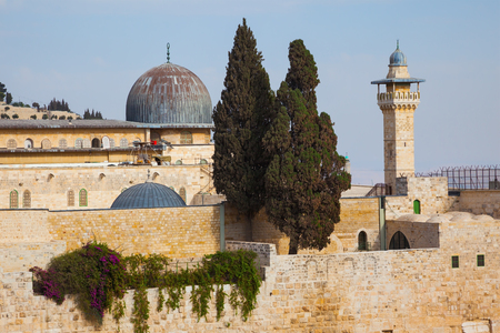omar: The Mosque of Caliph Omar - Al-Aqsa Mosque - and its minaret - the Muslim holy site in Jerusalem.