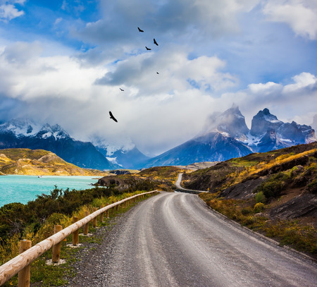 The road around lake Pehoe. Chile, Patagonia. Torres del Paine National Park - Biosphere Reserve. Concept of ecotourism