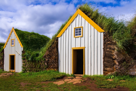 reconstituted: The village ancestors. The reconstituted village - museum of first settlers in Iceland. Roofs of houses covered with turf and grass