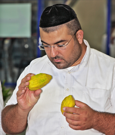 considers: BNEY-BRAK, ISRAEL - SEPTEMBER 17, 2013: The young religious man - Jew attentively considers a citrus - fruit for holiday of Sukkot. Traditional festive market before Sukkot
