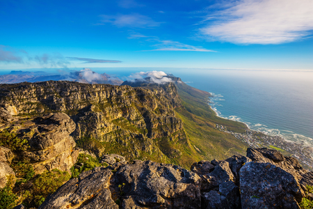 National Park Table Mountain South Africa, Cape Town. Top view of the Atlantic Ocean in a great day in April