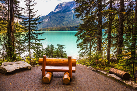 ecotourism: The concept of eco-tourism and adventure tourism. Camping at Lake Emerald. Wooden bench on the lake shore