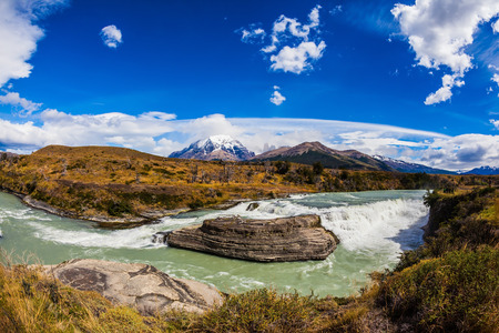 biosphere: Chile, Patagonia, Torres del Paine National Park - Biosphere Reserve. Cascades Paine. Cold emerald water of the river Paine with a roar there pass rocky barriers