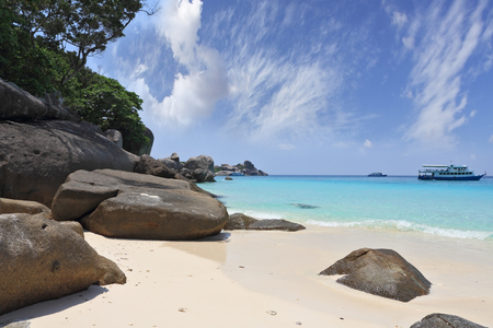 A romantic beach in the picturesque Similan Islands. Thailand, the spring