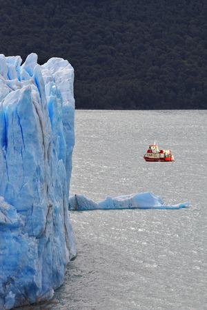 argentino: Excursion on the tourist boat.  Colossal Perito Moreno glacier in Lake Argentino. Los Glaciares National Park in Argentina