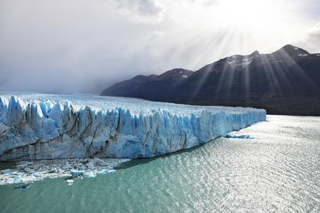 argentino: Los Glaciares National Park in Patagonia. Colossal Perito Moreno glacier in Lake Argentino. Sunny summer day
