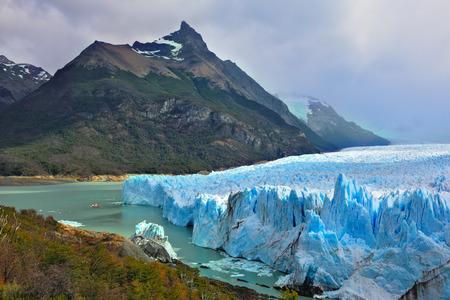 argentino: Colossal Perito Moreno glacier in Lake Argentino. Los Glaciares National Park in Argentina. Sunny summer day in February Stock Photo